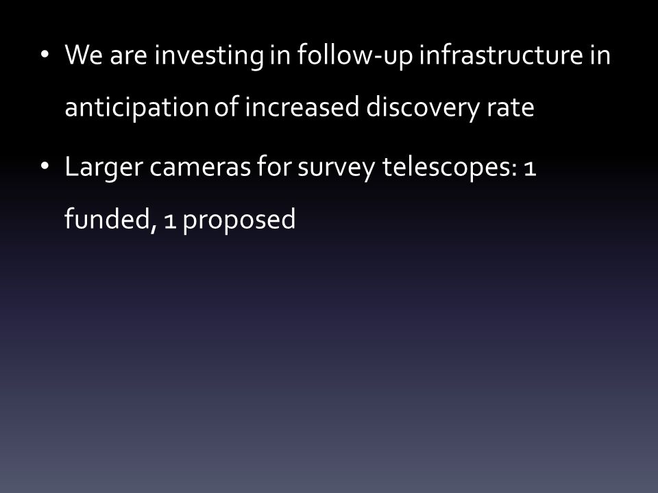 We are investing in follow-up infrastructure in anticipation of increased discovery rate Larger cameras for survey telescopes: 1 funded, 1 proposed