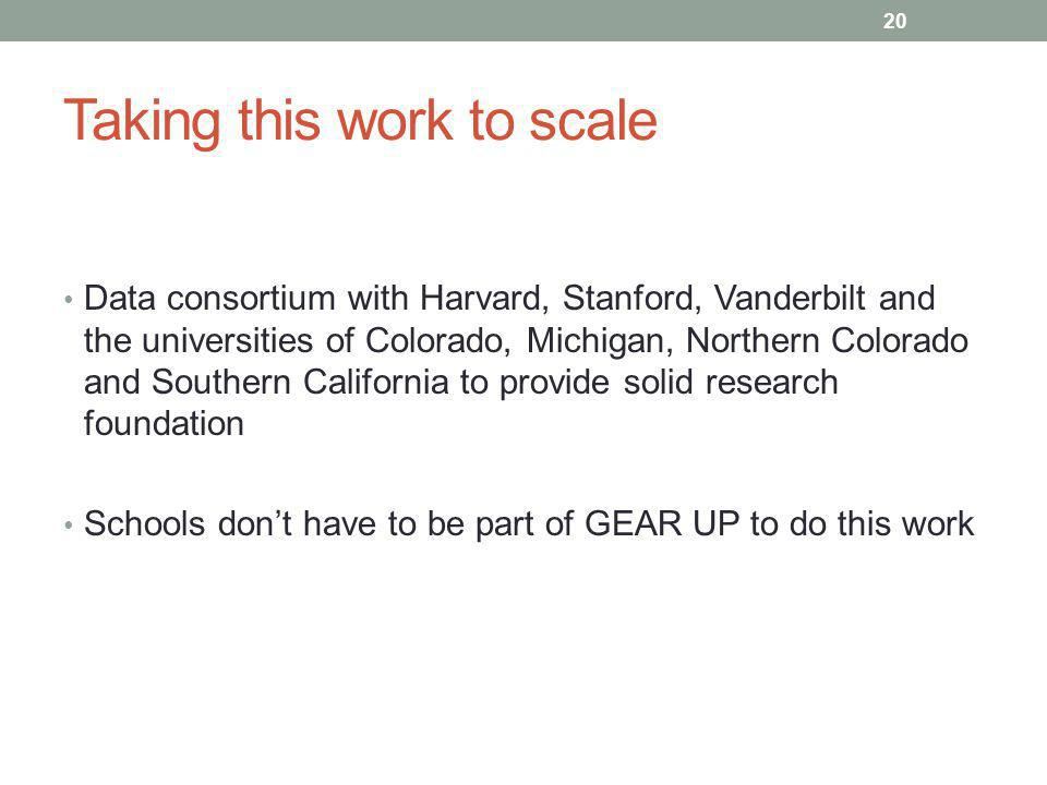 Taking this work to scale Data consortium with Harvard, Stanford, Vanderbilt and the universities of Colorado, Michigan, Northern Colorado and Southern California to provide solid research foundation Schools don't have to be part of GEAR UP to do this work 20