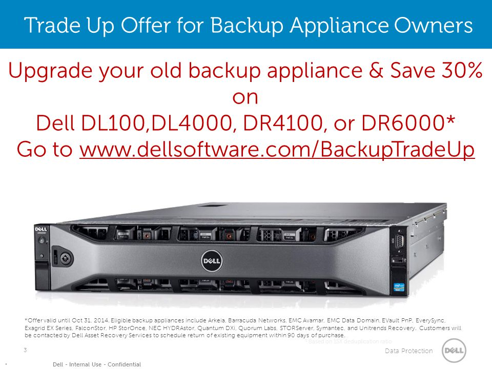 Data Protection Dell - Internal Use - Confidential 3 1 Based on 15X deduplication ratio Trade Up Offer for Backup Appliance Owners *Offer valid until Oct 31, 2014.