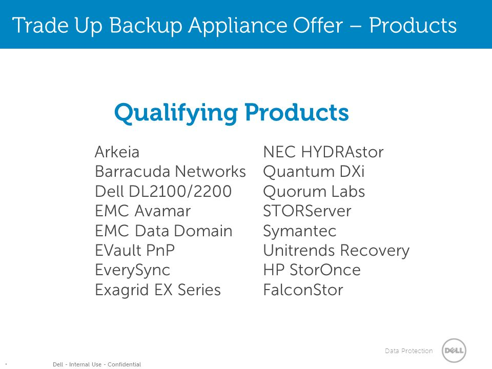 Data Protection Dell - Internal Use - Confidential Arkeia Barracuda Networks Dell DL2100/2200 EMC Avamar EMC Data Domain EVault PnP EverySync Exagrid EX Series NEC HYDRAstor Quantum DXi Quorum Labs STORServer Symantec Unitrends Recovery HP StorOnce FalconStor Qualifying Products Trade Up Backup Appliance Offer – Products