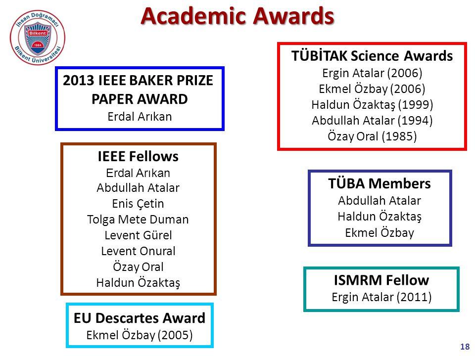 18 ISMRM Fellow Ergin Atalar (2011) TÜBİTAK Science Awards Ergin Atalar (2006) Ekmel Özbay (2006) Haldun Özaktaş (1999) Abdullah Atalar (1994) Özay Oral (1985) TÜBA Members Abdullah Atalar Haldun Özaktaş Ekmel Özbay Academic Awards EU Descartes Award Ekmel Özbay (2005) IEEE Fellows Erdal Arıkan Abdullah Atalar Enis Çetin Tolga Mete Duman Levent Gürel Levent Onural Özay Oral Haldun Özaktaş 2013 IEEE BAKER PRIZE PAPER AWARD Erdal Arıkan