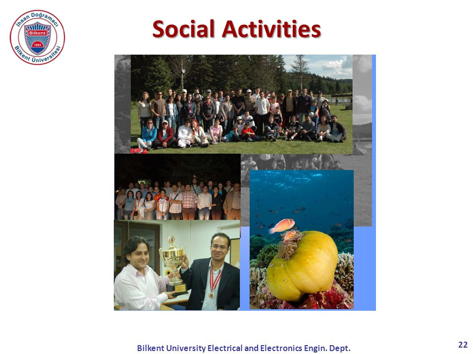 Bilkent University Electrical and Electronics Engin. Dept. 22 Social Activities