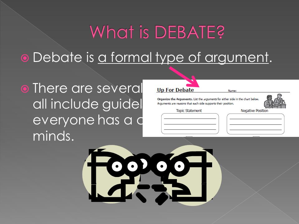 Every debate has a topic.This should be a pretty specific topic statement, not a question.