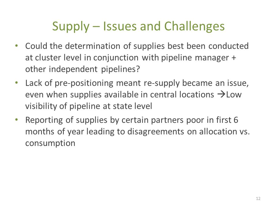 Supply – Issues and Challenges Could the determination of supplies best been conducted at cluster level in conjunction with pipeline manager + other independent pipelines.
