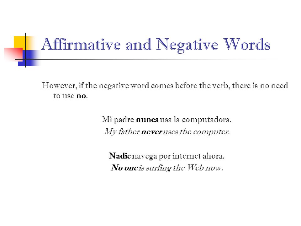 Affirmative and Negative Words However, if the negative word comes before the verb, there is no need to use no.