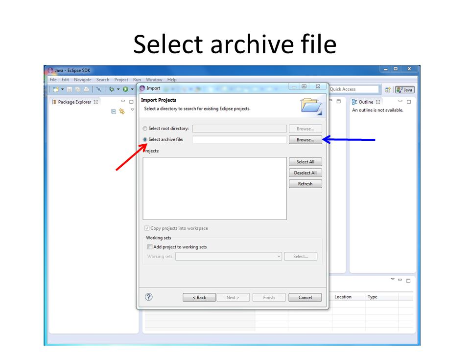 Select archive file