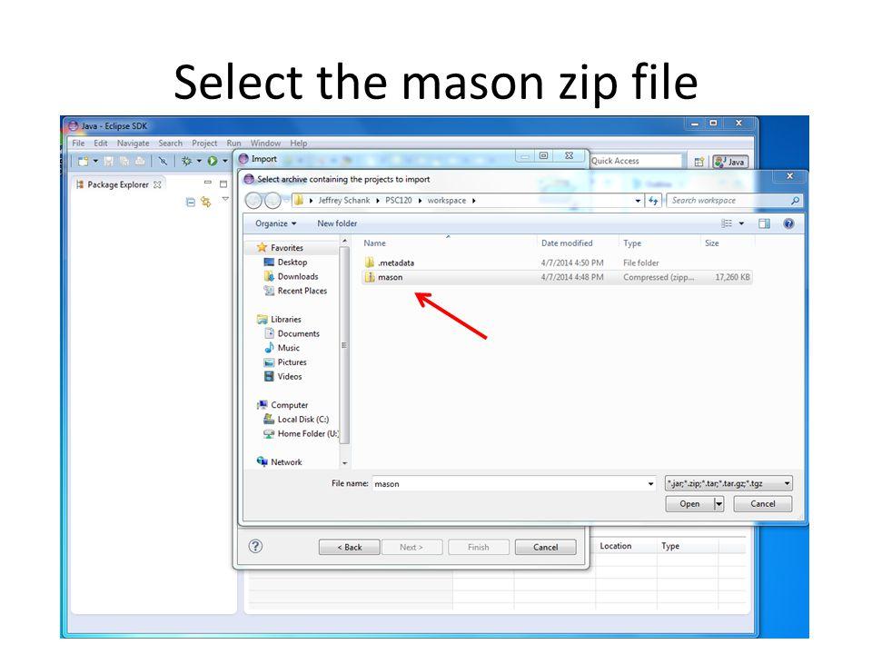Select the mason zip file
