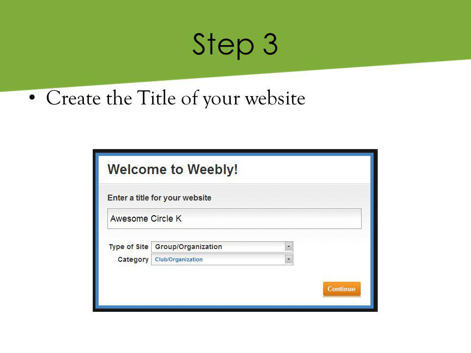 Step 3 Create the Title of your website