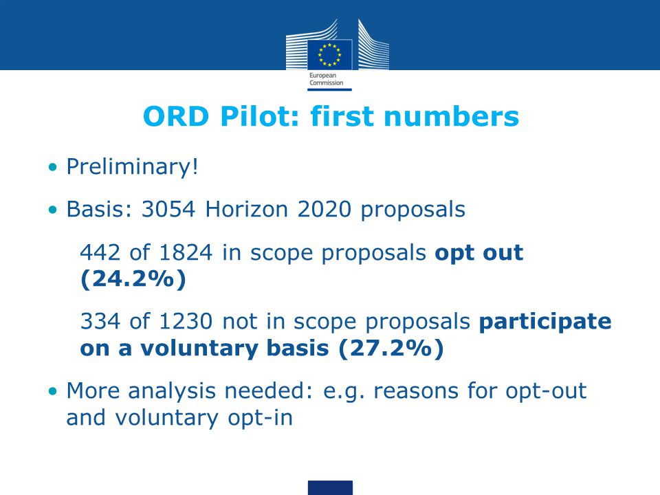 ORD Pilot: first numbers Preliminary.