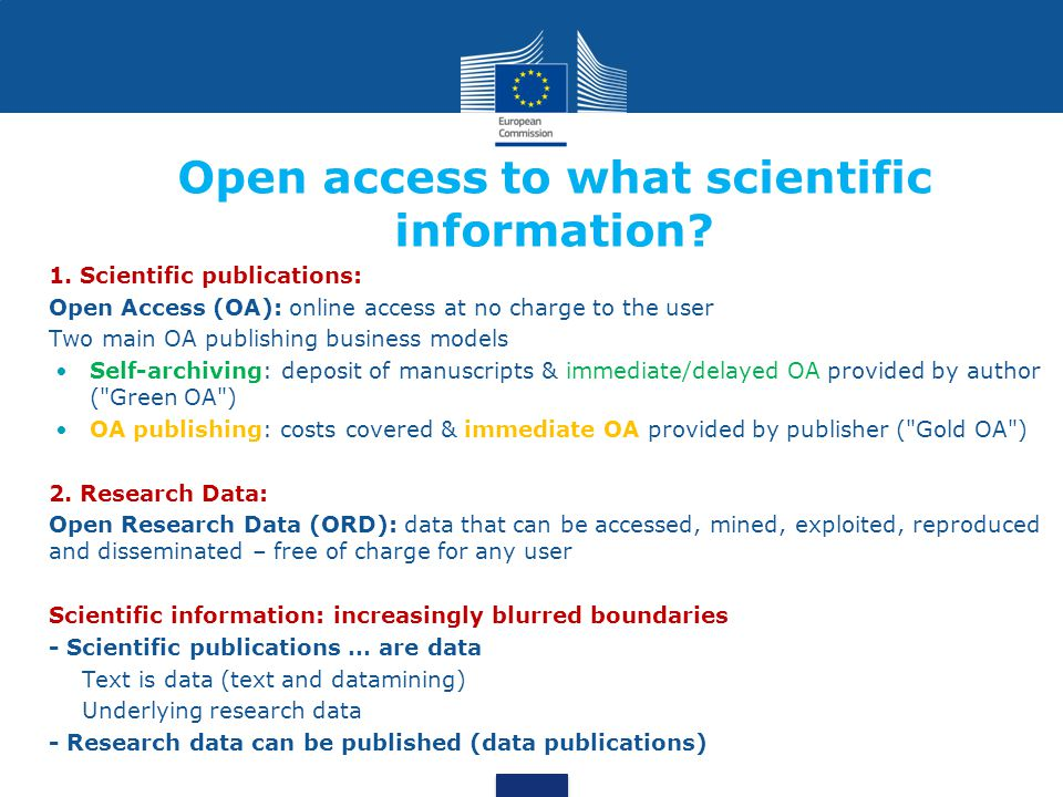 Open access to what scientific information. 1.