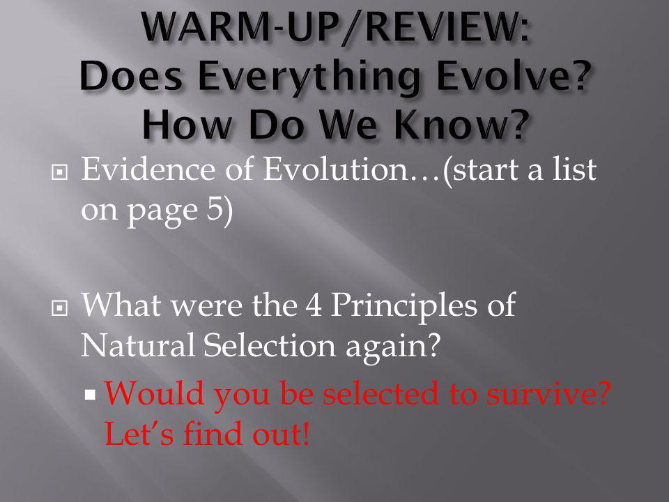  Evidence of Evolution…(start a list on page 5)  What were the 4 Principles of Natural Selection again?  Would you be selected to survive? Let's fi