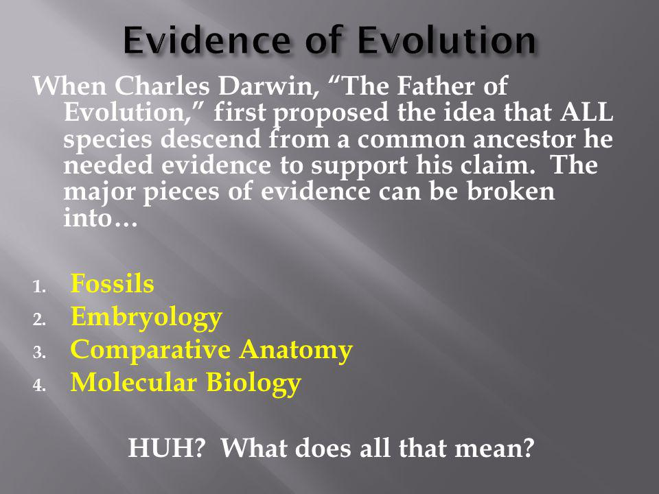 """When Charles Darwin, """"The Father of Evolution,"""" first proposed the idea that ALL species descend from a common ancestor he needed evidence to support"""