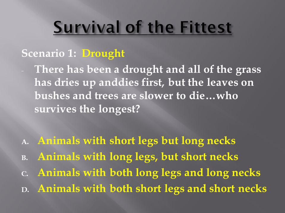 Scenario 1: Drought - There has been a drought and all of the grass has dries up anddies first, but the leaves on bushes and trees are slower to die…w