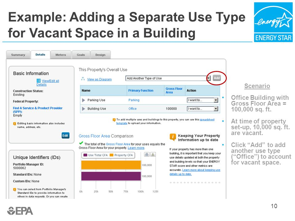 Example: Adding a Separate Use Type for Vacant Space in a Building 10 Scenario Office Building with Gross Floor Area = 100,000 sq.