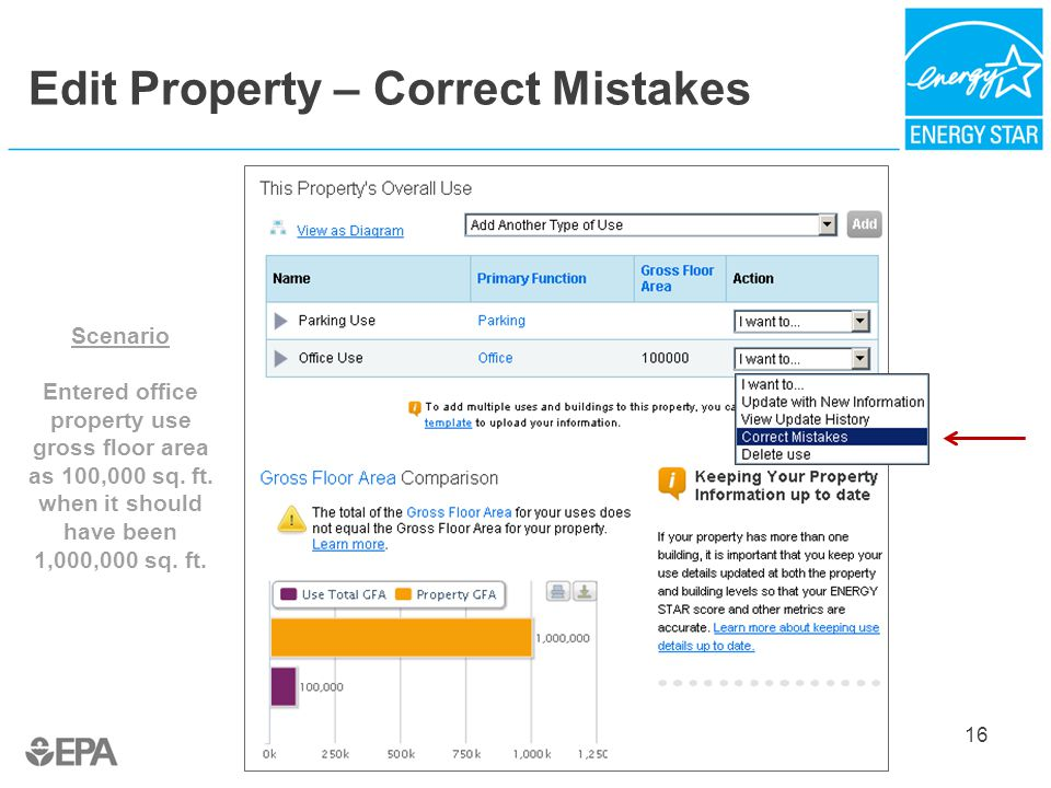 Edit Property – Correct Mistakes 16 Scenario Entered office property use gross floor area as 100,000 sq.