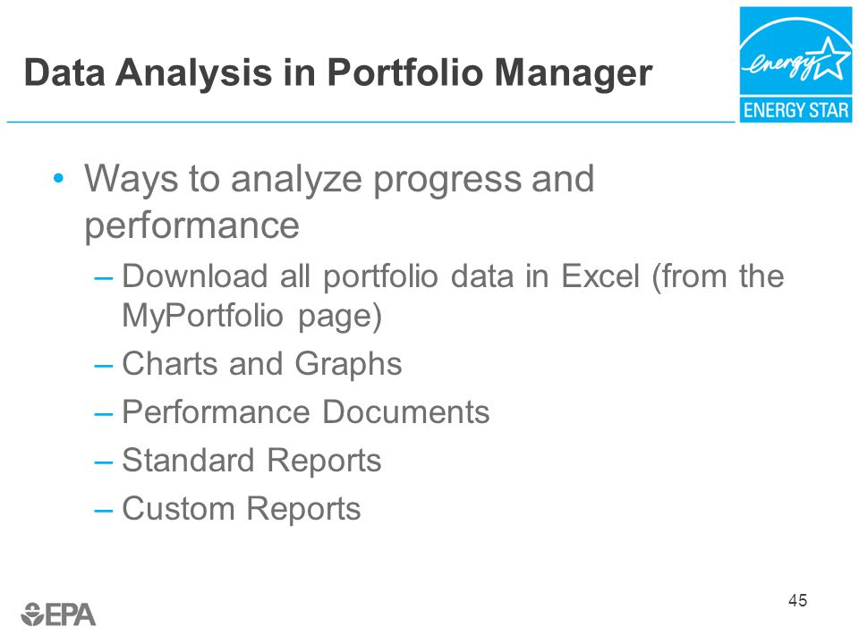 Data Analysis in Portfolio Manager Ways to analyze progress and performance –Download all portfolio data in Excel (from the MyPortfolio page) –Charts and Graphs –Performance Documents –Standard Reports –Custom Reports 45