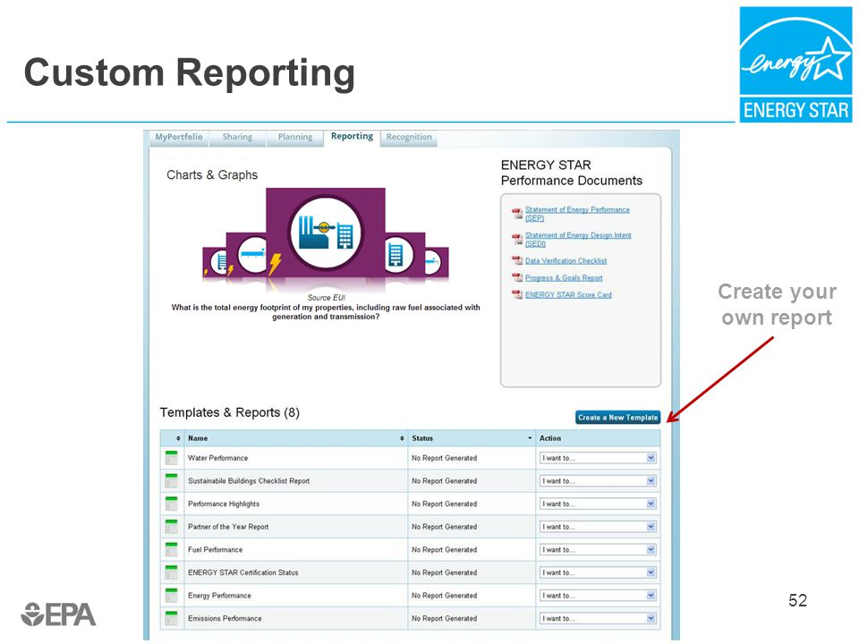 Custom Reporting 52 Create your own report