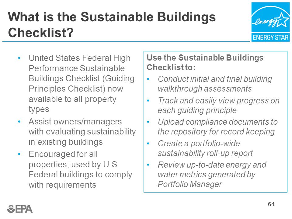 What is the Sustainable Buildings Checklist.