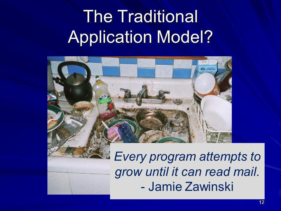 The Traditional Application Model. 12 Every program attempts to grow until it can read mail.