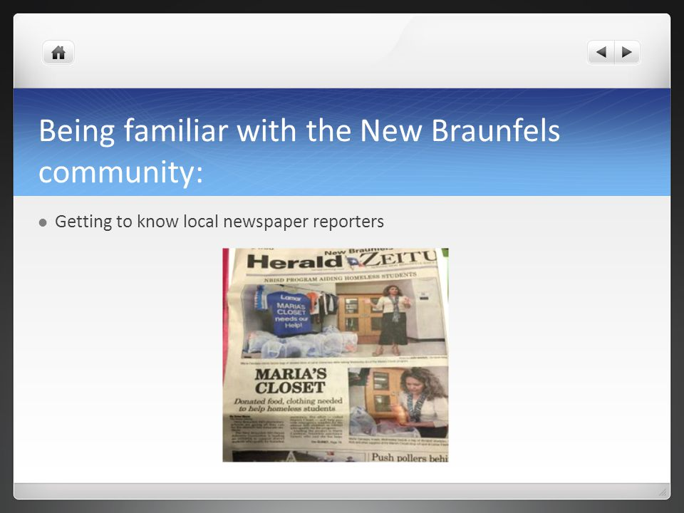 Being familiar with the New Braunfels community: Getting to know local newspaper reporters