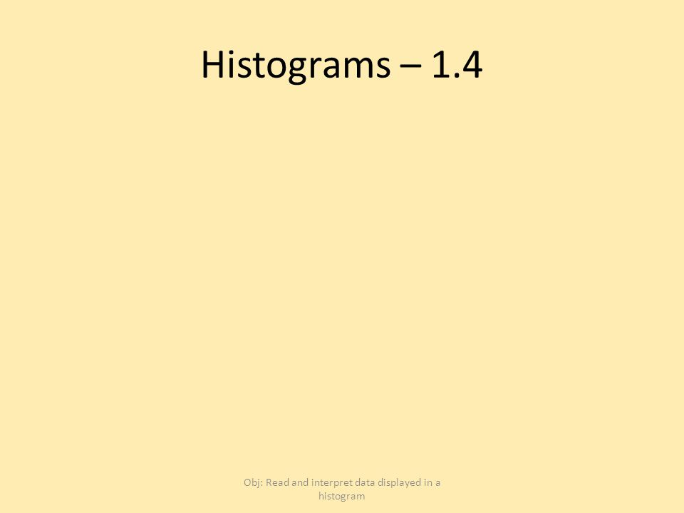 Histograms – 1.4 Obj: Read and interpret data displayed in a histogram