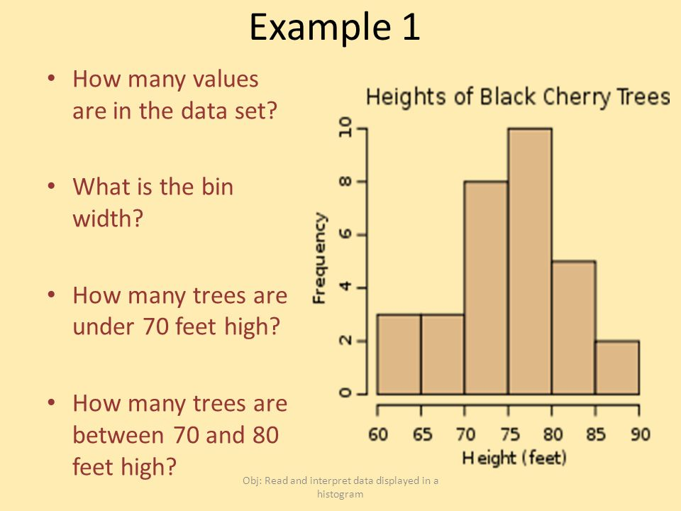 Example 1 How many values are in the data set. What is the bin width.