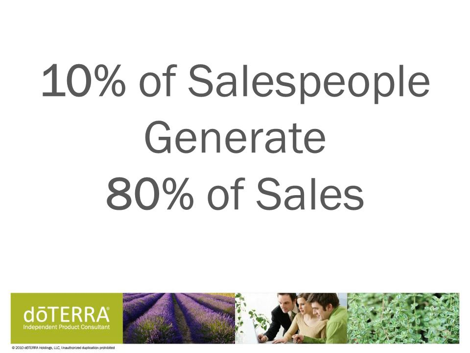 10% of Salespeople Generate 80% of Sales