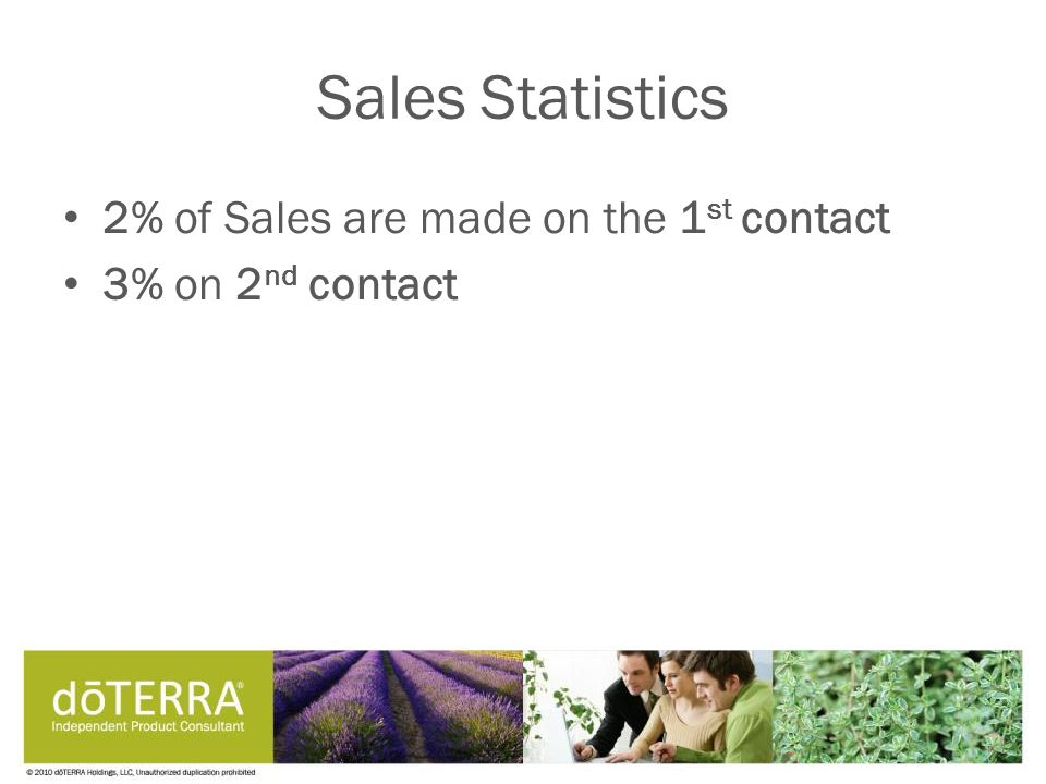 Sales Statistics 2% of Sales are made on the 1 st contact 3% on 2 nd contact