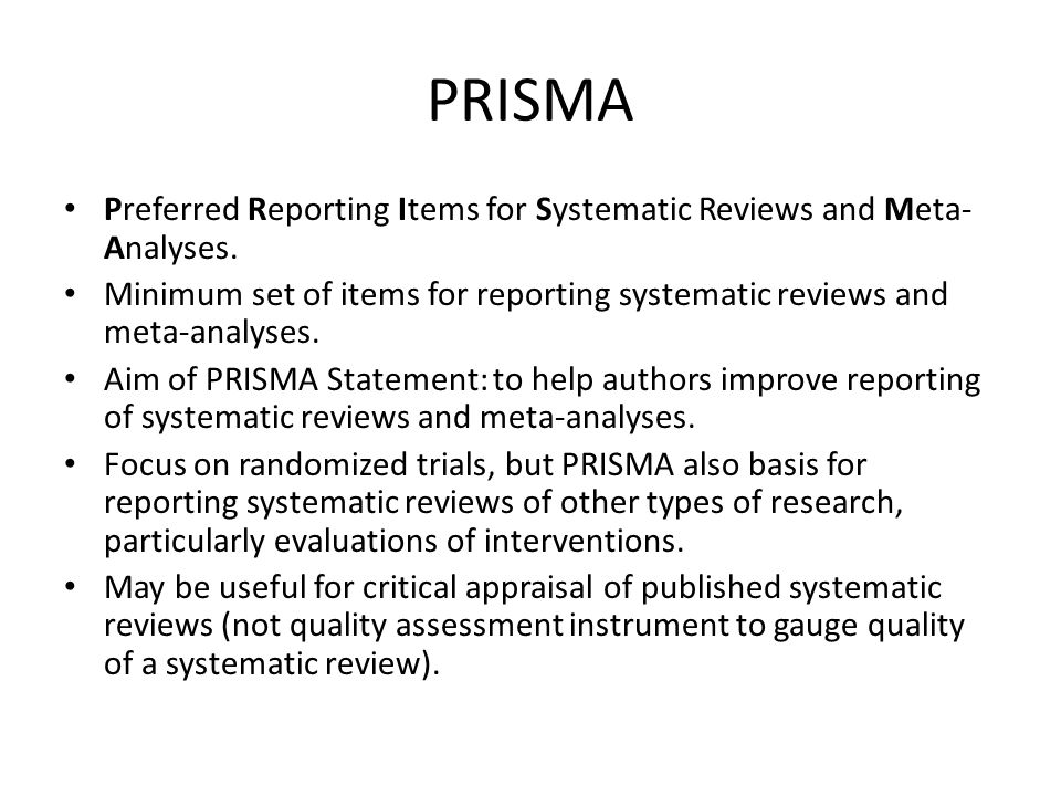 PRISMA Preferred Reporting Items for Systematic Reviews and Meta- Analyses.