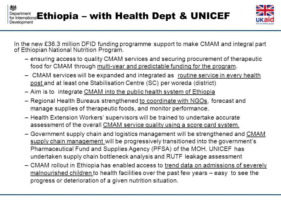 Ethiopia – with Health Dept & UNICEF In the new £36.3 million DFID funding programme support to make CMAM and integral part of Ethiopian National Nutrition Program.