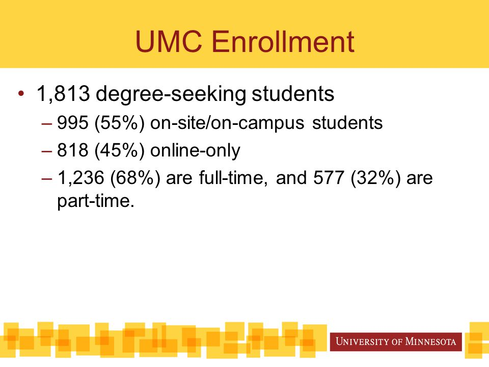UMC Enrollment 1,813 degree-seeking students –995 (55%) on-site/on-campus students –818 (45%) online-only –1,236 (68%) are full-time, and 577 (32%) ar