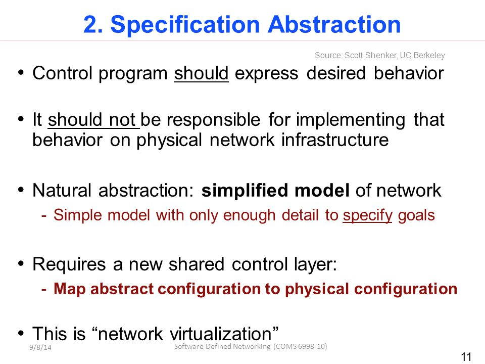 11 2. Specification Abstraction Control program should express desired behavior It should not be responsible for implementing that behavior on physica