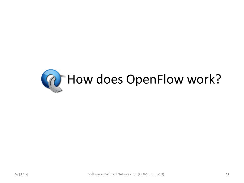How does OpenFlow work? 239/15/1423 Software Defined Networking (COMS6998-10)