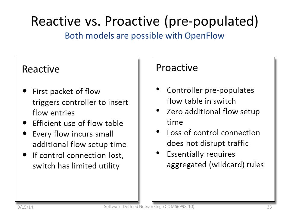 Reactive vs. Proactive (pre-populated) Both models are possible with OpenFlow Reactive First packet of flow triggers controller to insert flow entries