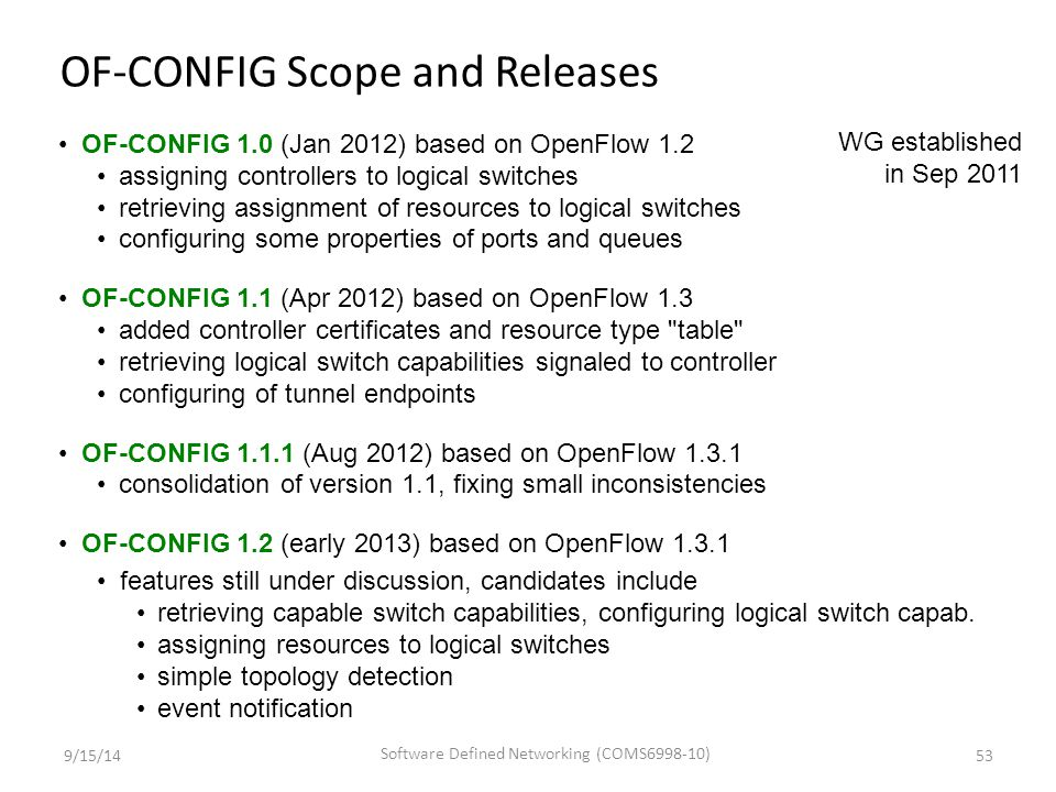 OF-CONFIG 1.0 (Jan 2012) based on OpenFlow 1.2 assigning controllers to logical switches retrieving assignment of resources to logical switches config