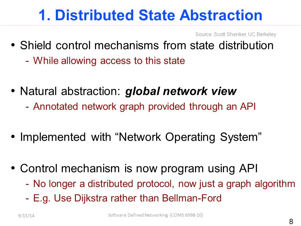 8 1. Distributed State Abstraction Shield control mechanisms from state distribution -While allowing access to this state Natural abstraction: global