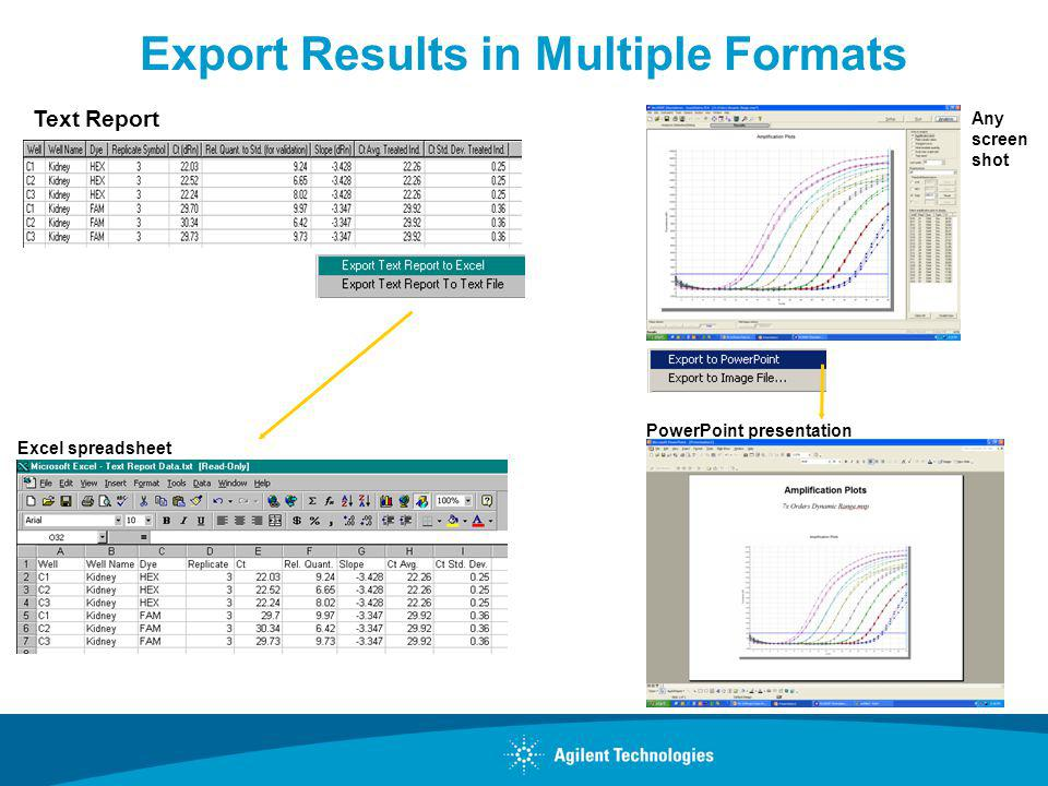 Export Results in Multiple Formats Text Report Excel spreadsheet PowerPoint presentation Any screen shot