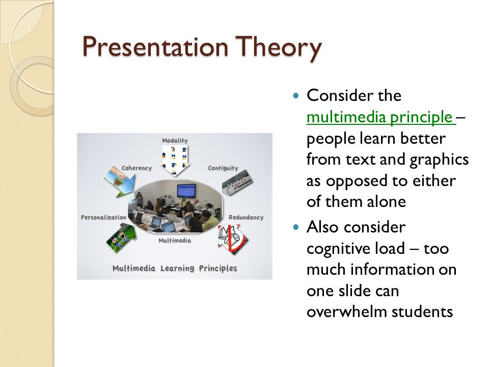Presentation Theory Consider the multimedia principle – people learn better from text and graphics as opposed to either of them alone multimedia principle Also consider cognitive load – too much information on one slide can overwhelm students