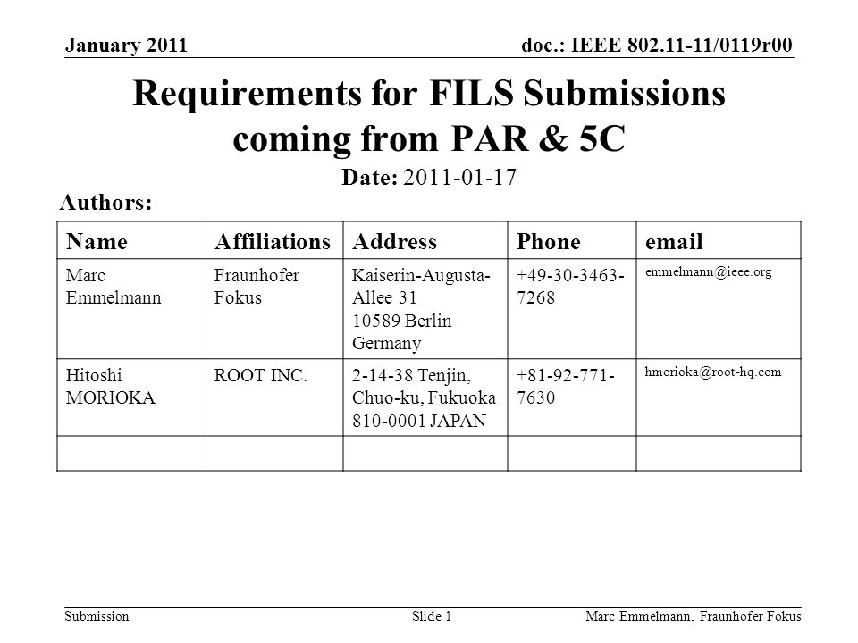 doc.: IEEE 802.11-11/0119r00 Submission January 2011 Marc Emmelmann, Fraunhofer FokusSlide 1 Requirements for FILS Submissions coming from PAR & 5C Date: 2011-01-17 Authors: NameAffiliationsAddressPhoneemail Marc Emmelmann Fraunhofer Fokus Kaiserin-Augusta- Allee 31 10589 Berlin Germany +49-30-3463- 7268 emmelmann@ieee.org Hitoshi MORIOKA ROOT INC.2-14-38 Tenjin, Chuo-ku, Fukuoka 810-0001 JAPAN +81-92-771- 7630 hmorioka@root-hq.com