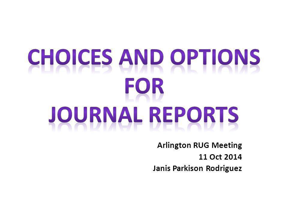Arlington RUG Meeting 11 Oct 2014 Janis Parkison Rodriguez