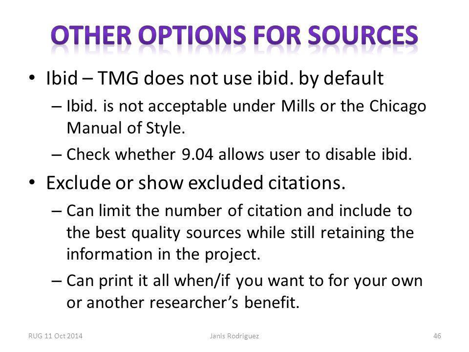 Ibid – TMG does not use ibid. by default – Ibid.