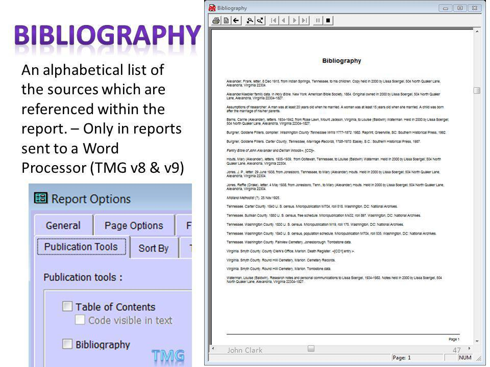 An alphabetical list of the sources which are referenced within the report.