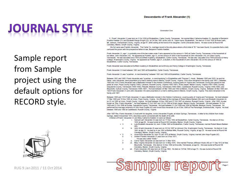 Sample report from Sample project using the default options for RECORD style.