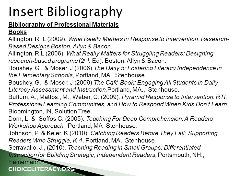 Bibliography of Professional Materials Books Allington, R.