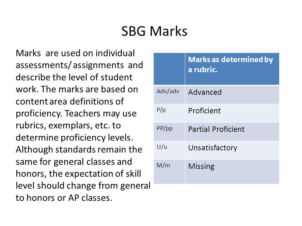 Marks as determined by a rubric. Adv/adv Advanced P/p Proficient PP/pp Partial Proficient U/u Unsatisfactory M/m Missing Marks are used on individual