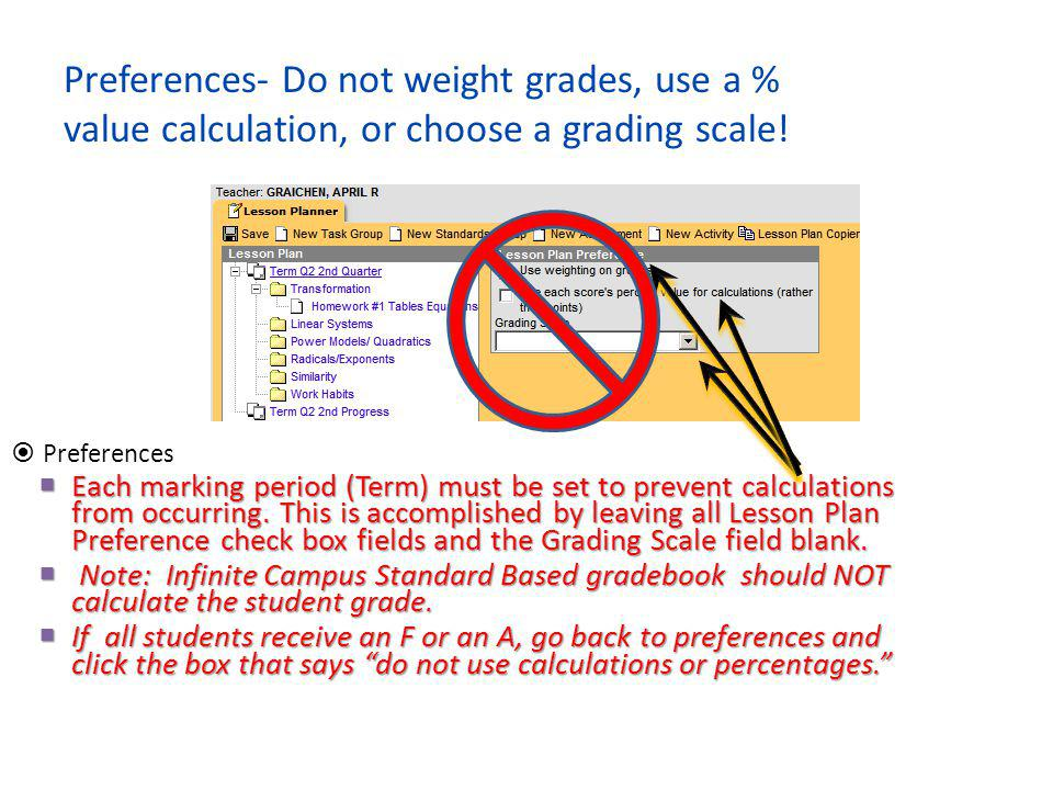 Preferences- Do not weight grades, use a % value calculation, or choose a grading scale!  Preferences  Each marking period (Term) must be set to pre