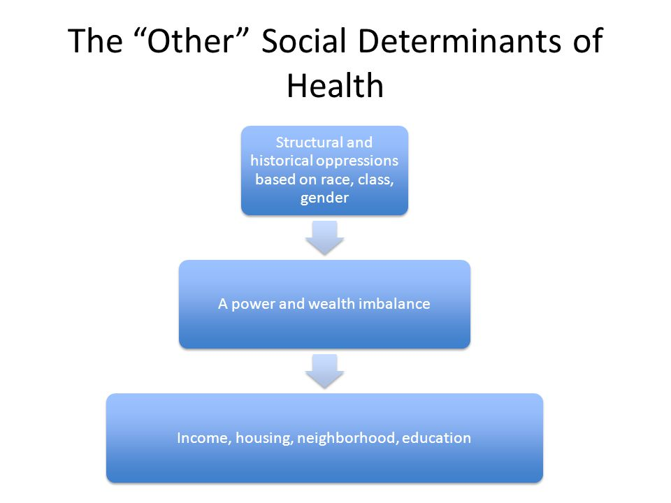 The Other Social Determinants of Health Structural and historical oppressions based on race, class, gender A power and wealth imbalanceIncome, housing, neighborhood, education
