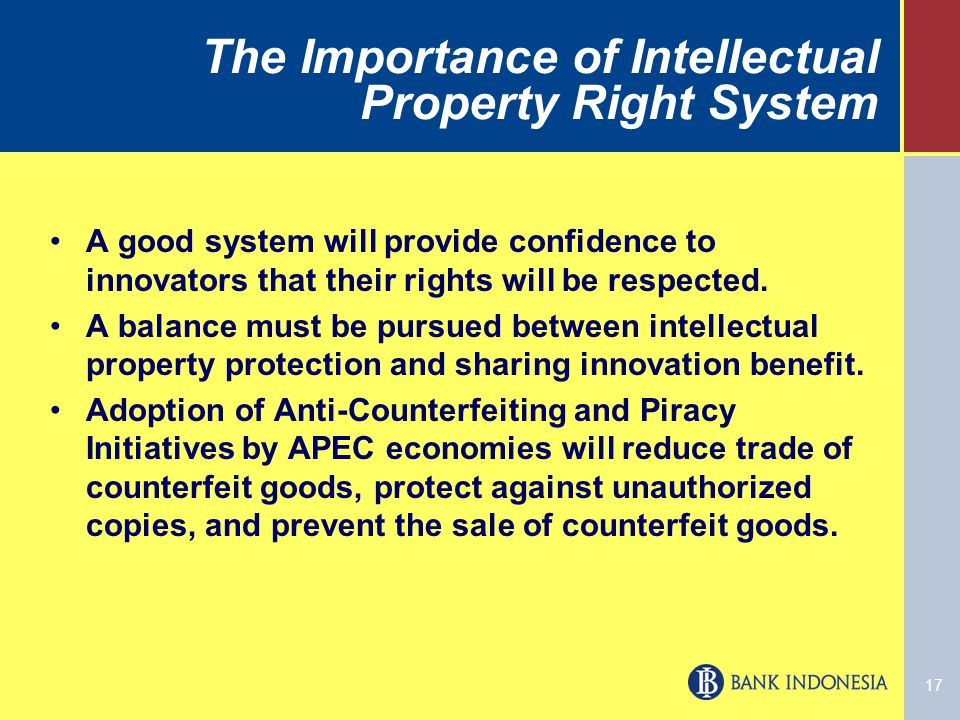 17 The Importance of Intellectual Property Right System A good system will provide confidence to innovators that their rights will be respected.
