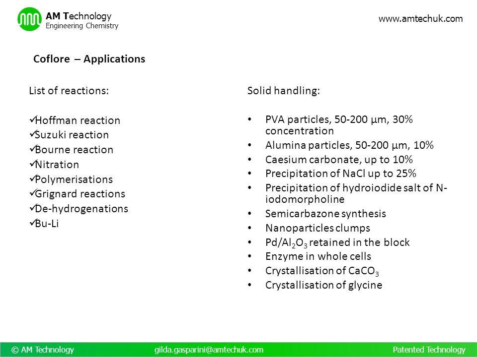 © AM Technology gilda.gasparini@amtechuk.com Patented Technology www.amtechuk.com AM Technology Engineering Chemistry List of reactions: Hoffman react