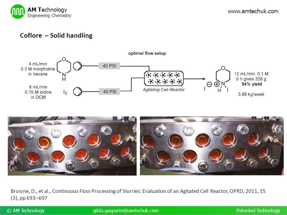 © AM Technology gilda.gasparini@amtechuk.com Patented Technology www.amtechuk.com AM Technology Engineering Chemistry Browne, D., et al., Continuous F